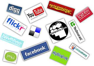 Social Media Collage: Facebook, Twitter, Flickr, YouTube & More